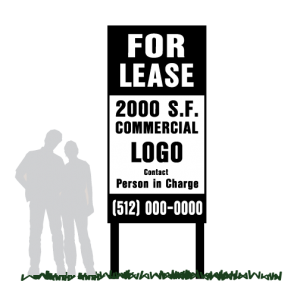 For Lease Community Sign with SQ FT Information