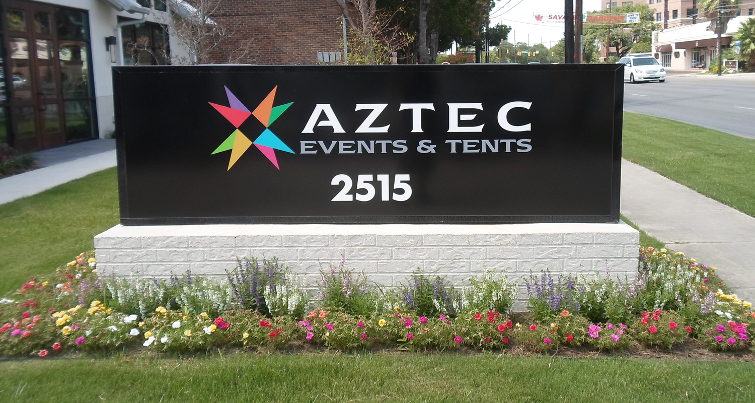 Aztec Exterior Lighted Monument Sign